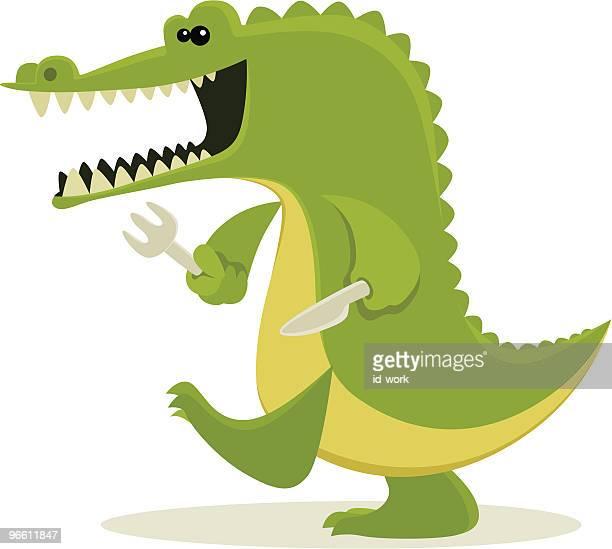 hungry crocodile - crocodile stock illustrations