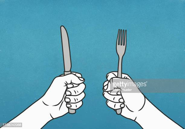 hungry hands holding fork and knife - {{relatedsearchurl(carousel.phrase)}} stock illustrations