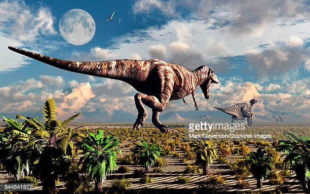 A hungry Tyrannosaurus Rex chasing a small group of Parasaurolophus dinosaurs.