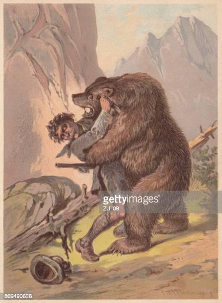 ilustraciones, imágenes clip art, dibujos animados e iconos de stock de cazador, atacado por un oso, litografía, publicado en 1887 - oso pardo