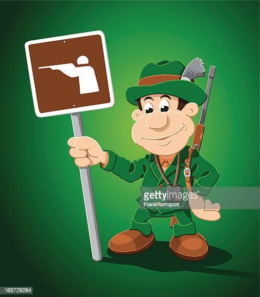 Hunter Cartoon Man Hunting Sign