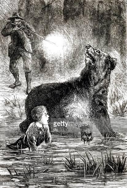 Hunter shooting the bear, boy on side of bear