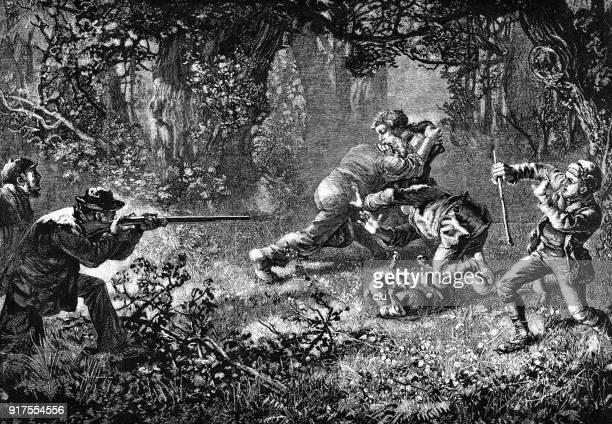 hunter shoots at poachers - 1877 stock illustrations, clip art, cartoons, & icons