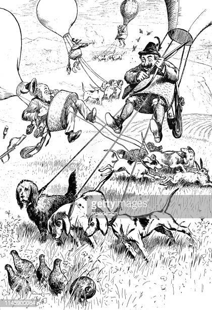 hunters with the balloon - 1896 stock illustrations, clip art, cartoons, & icons