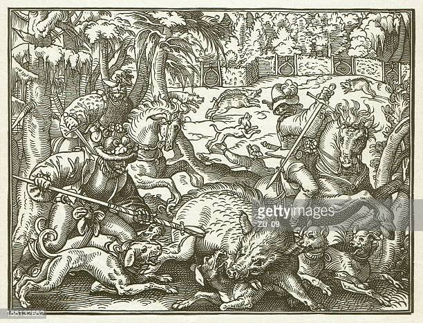 hunting in the 16th century - by jost amman - renaissance stock illustrations