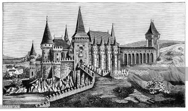 ilustraciones, imágenes clip art, dibujos animados e iconos de stock de hunyad / castillo de corvin - vampiro
