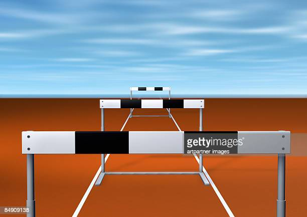 hurdles in a row - sports target stock illustrations