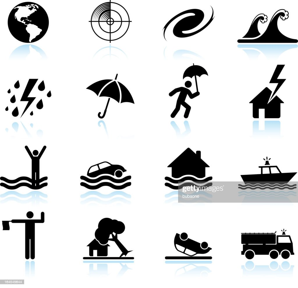 Hurricane and tropical storm black & white vector icon set
