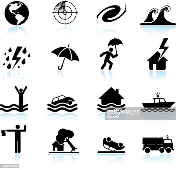 hurricane and tropical storm black & white vector icon set - hurricane stock illustrations, clip art, cartoons, & icons