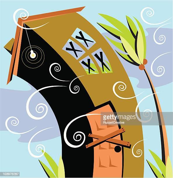 hurricane house - hurricane stock illustrations, clip art, cartoons, & icons