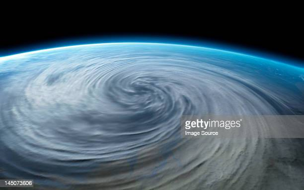 stockillustraties, clipart, cartoons en iconen met hurricane on planet earth - orkaan