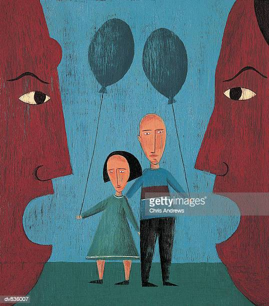 husband and wife arguing with their children in the background - divorce kids stock illustrations