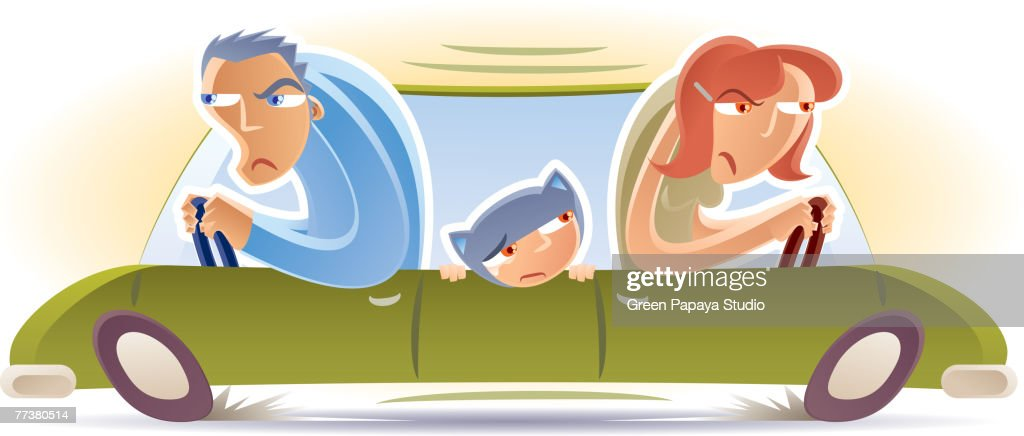 Husband and wife driving in opposite directions : Illustration