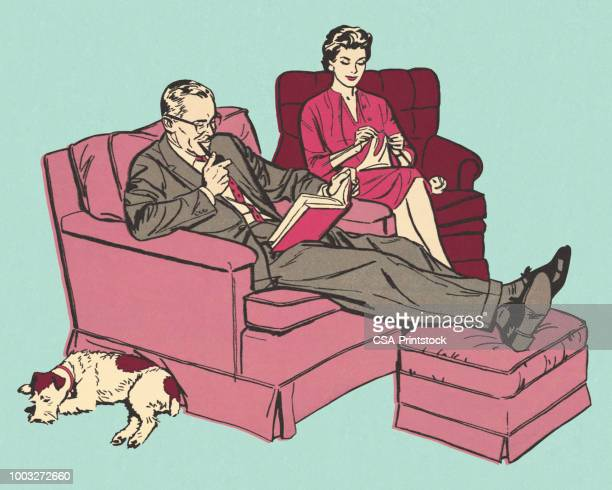 husband and wife relaxing in chairs - couple relationship stock illustrations