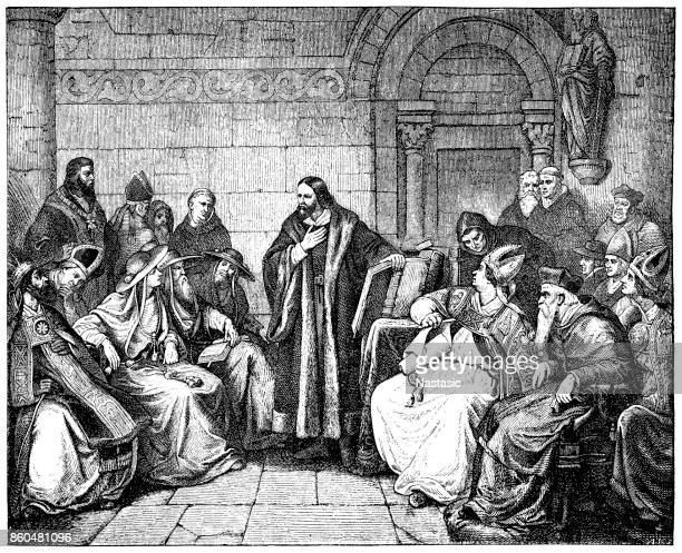huss before the council - protestantism stock illustrations