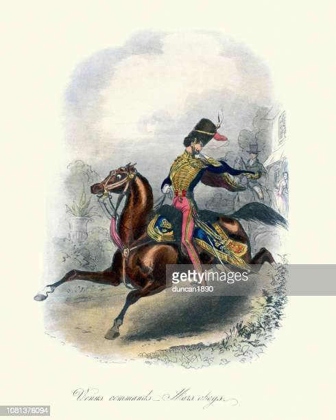 hussar soldier riding away from his sweetheart, 19th century - cavalry stock illustrations