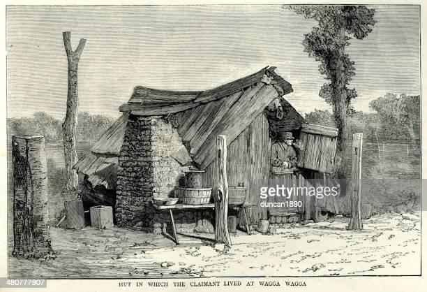 hut at wagga-wagga, australia - wagga wagga stock illustrations
