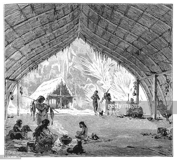 hut of the kiowa indians in brazil - drawing artistic product stock illustrations