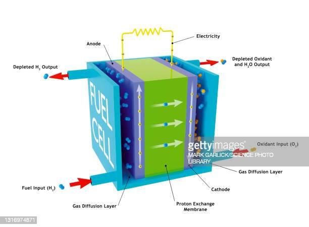 hydrogen fuel cell, illustration - physics stock illustrations