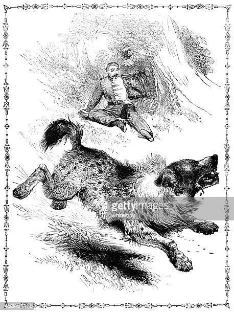 hyena frightened by a trumpeter (victorian illustration) - animal saliva stock illustrations, clip art, cartoons, & icons