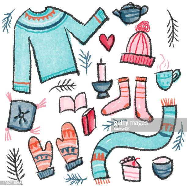 hygge items drawing - kathrynsk stock illustrations