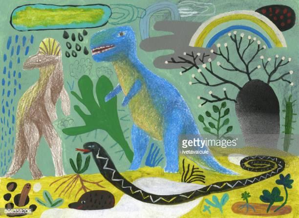 ilustrações de stock, clip art, desenhos animados e ícones de ice age dinosaurs doodle - dinossauro desenho