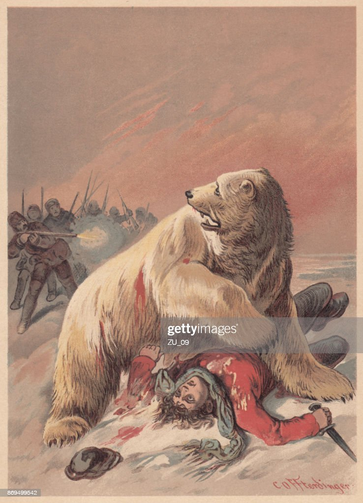 Ice bear attack, lithograph, published in 1887 : stock illustration