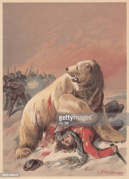 Ice bear attack, lithograph, published in 1887
