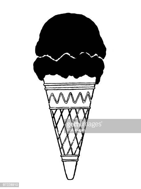 ice cream cone - scoop shape stock illustrations, clip art, cartoons, & icons