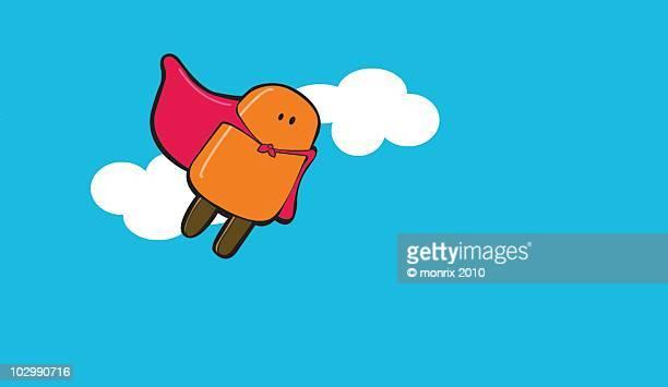 ice cream super hero flying - heroes stock illustrations