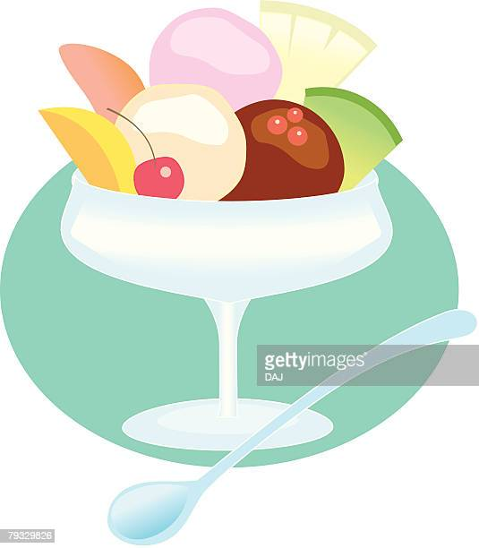 Ice cream with fruits, close-up, illustration