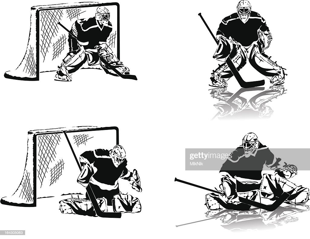 ice hockey figures. Goalkeepers in the black uniform