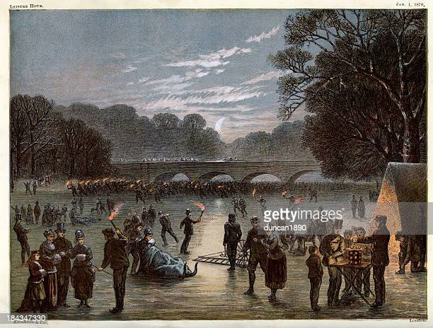 ice skating on the serpentine - hyde park london stock illustrations