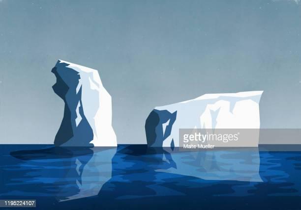 icebergs in sea - iceberg ice formation stock illustrations