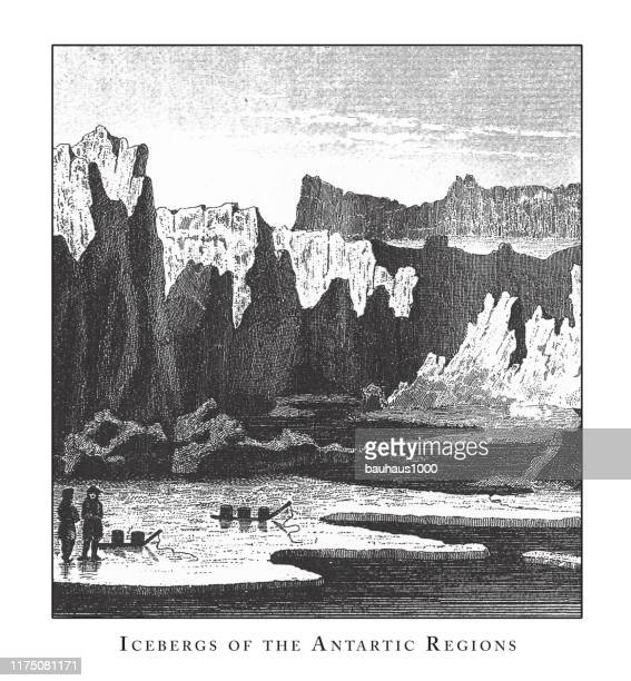 icebergs of the antartic recions, caves, icebergs, lava and rock formations engraving antique illustration, published 1851 - isle of staffa stock illustrations, clip art, cartoons, & icons