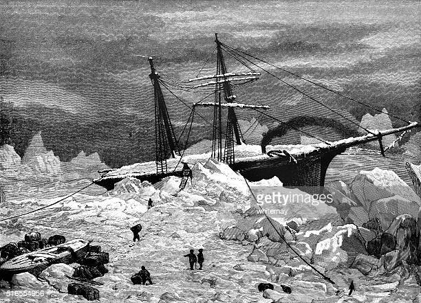 ice-bound ship in the arctic - iceberg ice formation stock illustrations