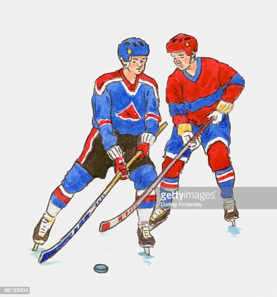 ice-hockey players with sticks and puck - ice hockey stick stock illustrations