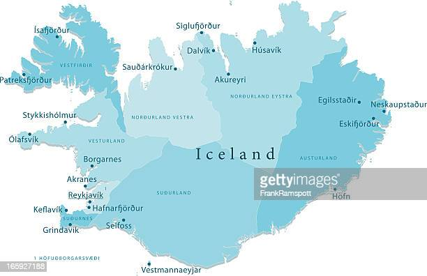 Iceland Vector Map Regions Isolated
