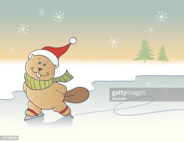 ice-skating beaver background - funny beaver stock illustrations