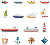 Icon Set, boats and ships Color
