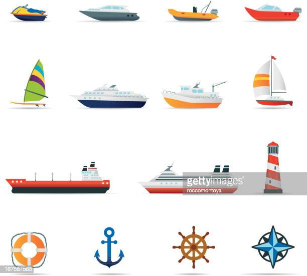 icon set, boats and ships color - motorboating stock illustrations, clip art, cartoons, & icons