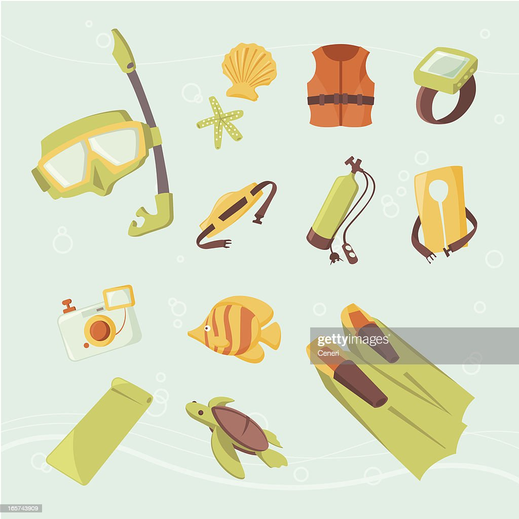 Icon set: Snorkeling, Scuba diving, and underwater fun : stock illustration