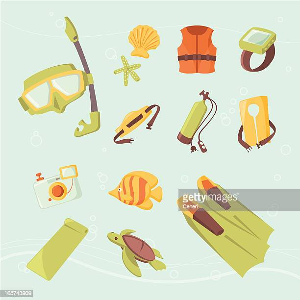 Icon set: Snorkeling, Scuba diving, and underwater fun