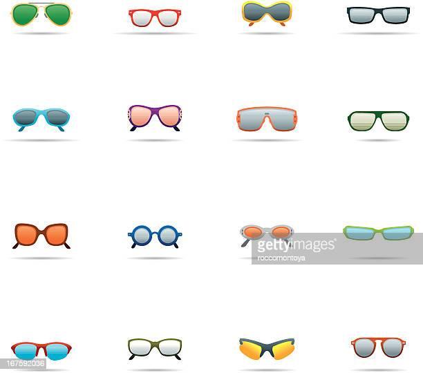 icon set, sunglasses color - cat's eye glasses stock illustrations