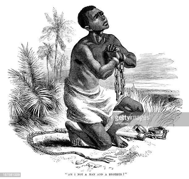 Iconic anti-slavery image of slave in shackles (1875 illustration)