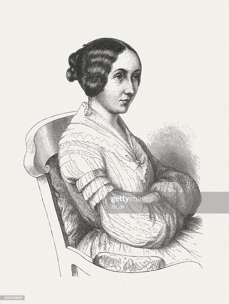 Ida Hahn-Hahn (1805-1880), German writer, wood engraving, published in 1882 : stock illustration