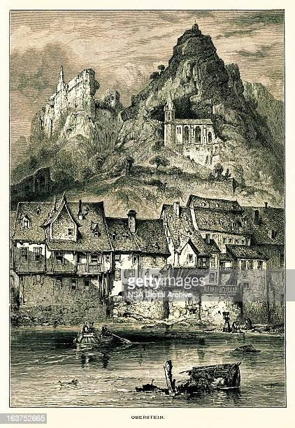 idar-oberstein, germany i antique european illustrations - village stock illustrations