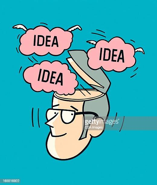 Ideas Flying Out of a Man's Head