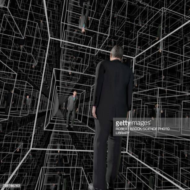 Identical men in square cubicles