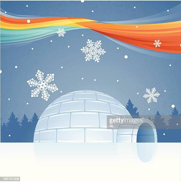 igloo and northern lights - aurora borealis stock illustrations